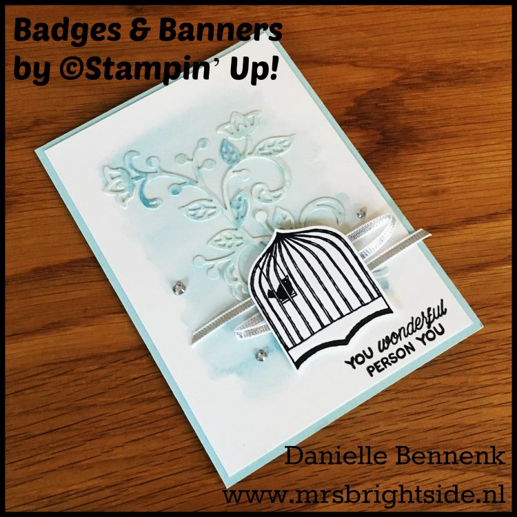 "Badges & Banners bundle, Flourishing Thinlits & Designer Tin of Cards stamp set - 1/8""Silver Ribbon & Rhinestone Jewels - Soft Sky, Marina Mist & Archival Black ink - Soft Sky & Shimmery White cardstock - Aqua Painter"