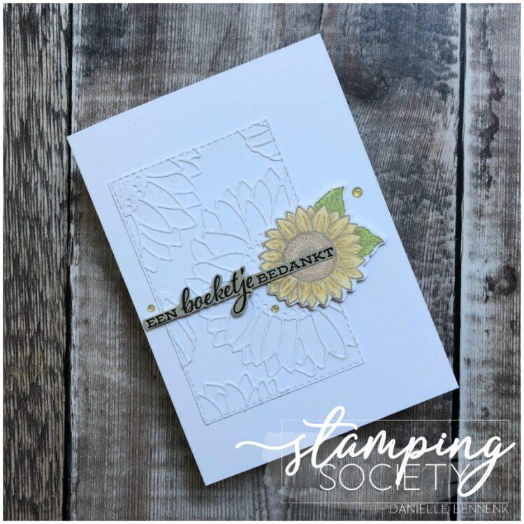 Foto van kaart gemaakt met Bijzondere zonnebloemen productpakket van Stampin' Up!