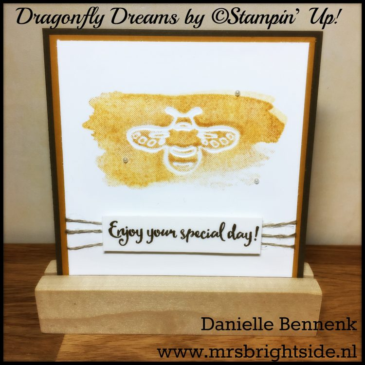 Dragonfly Dreams & Perpetual Birthday Calender stamps - Detailed Dragonfly Thinlits - Linnen thread & pearl basic jewels - Soft Suede, Delightful Dijon & Whisper White thick cardstock - Delightful Dijon & Soft Suede ink
