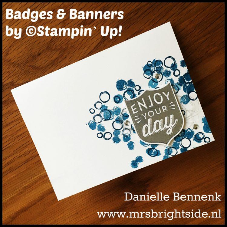 Badges & Banners bundle & Playful Backgrounds stamp sets - Whisper White cardstock - Metallic Enamel Shapes & Silver Metallic Thread - Versamark, Silver Stampin' Embossing Powder & Heat tool - Dapper Denim ink