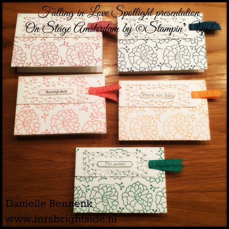 2016-2018 In Colors Whisper White Notecards - Sentimenten (NL set) & So In Love stamps - So Detailed Thinlits - Ruched ribbon & ink: Dapper Denim, Emerald Envy, Sweet Sugarplum, Peekaboo Peach & Flirty Flamingo - Archival Black ink