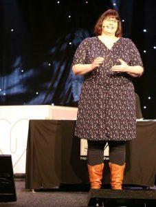 Dit ben ik tijdens mijn presentatie! / This is me during my presentation!
