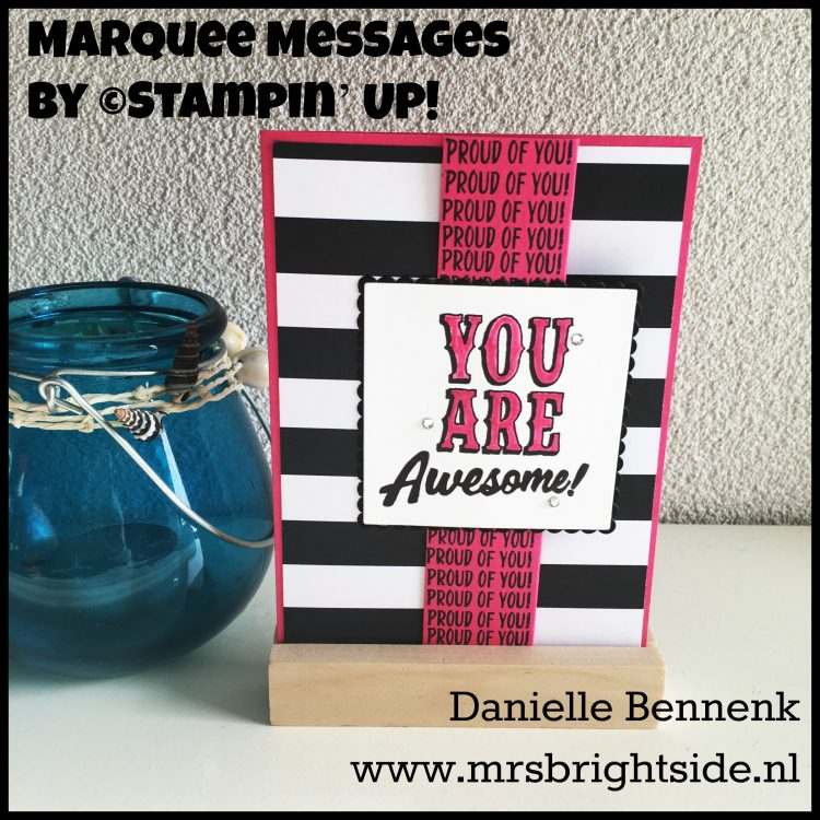 Marquee Messages - Pop of Pink DSP - Whisper White, Basic Black & Melon Mambo cardstock - Archival Black & Melon Mambo ink - Blender pen