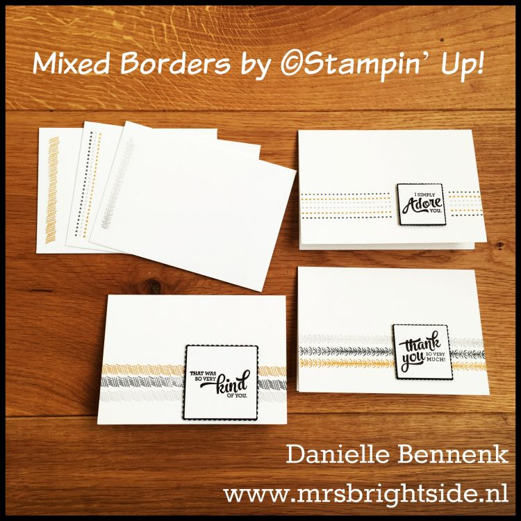 Mixed Borders - Whisper White notecards - Basic Black, Basic Gray, Smoky Slate & Delightful Dijon stamp pads - Whisper White & Basic Black cardstock - Delightful Dijon mini-striped ribbon