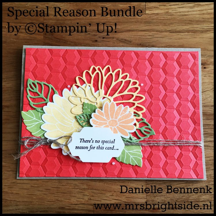 Special Reason stamp set - Stylish Stems Dies - Hexagons Dynamic Embossing folder - Linen thread & Pearl basic jewels - Whisper White, Pear Pizzazz, So Saffron, Crumb Cake & Calypso Coral cardstock - So Saffron, Peekaboo Peach, Pear Pizzazz & Early Espresso ink