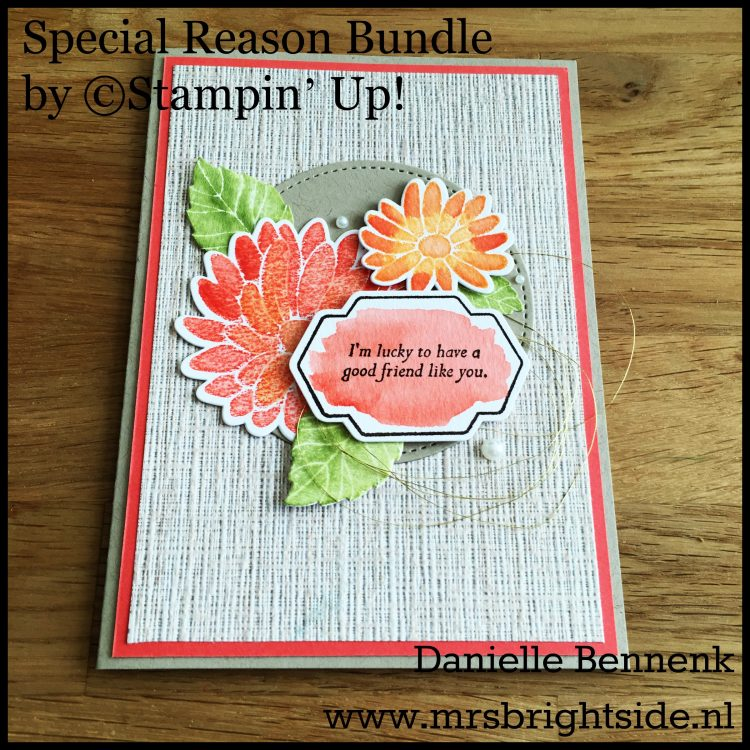 Special Reason stamp set - Stylish Stems & Stitched Shapes framelits - Serene Scenery DSP - Watercolor paper, Crumb Cake & Calypso Coral cardstock - Metallic Gold thread & Pearl basic jewels - Early Espresso, Calypso Coral, Peekaboo Peach, So Saffron & Pear Pizzazz ink